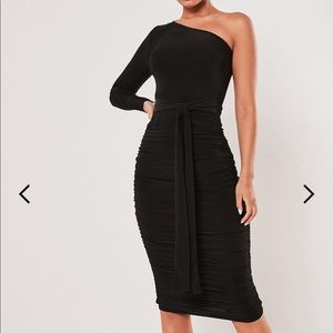 ONE SHOULDER SLINKY BODYCON MIDI DRESS